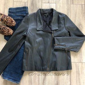 Eileen Fisher Leather Moto Jacket Black Zipper